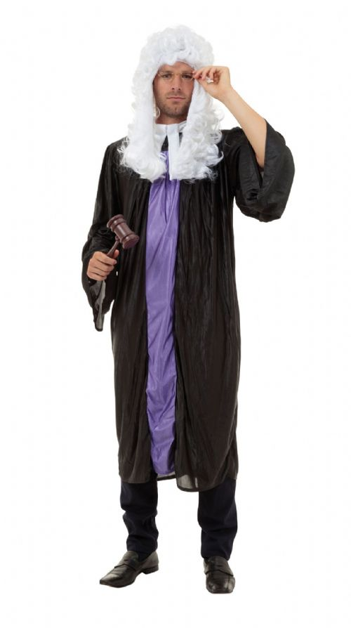 Mens Judge Gown Costume Jury Court Baliff Brief Barrister Solicitor Fancy Dress